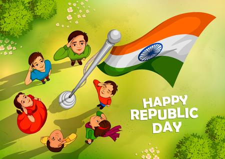 Indische mensen die vlag van India met trots op Gelukkige Republiek dag groeten