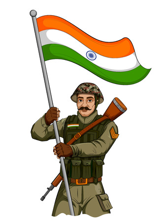 Indian Army soilder holding falg of India with pride Vector Illustration