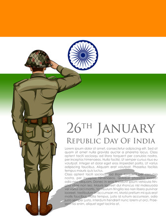 Indian Army soilder saluting falg of India on Happy Republic Day Imagens - 92500342
