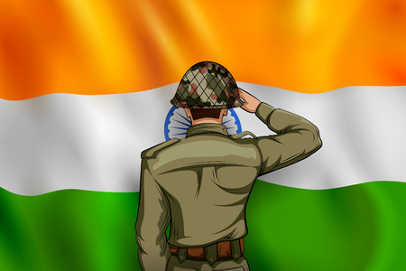 Indian Army soilder saluting flag of India with pride