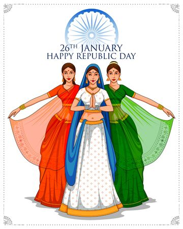 Lady in Tricolor saree of Indian flag for 26th January Happy Republic Day of India