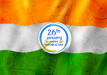 Tricolor banner with Indian flag for 26th January Happy Republic Day of India