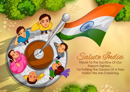 Indische mensen die vlag van India groeten met trots