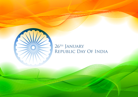 Tricolor banner with Indian flag for 26th January Happy Republic Day of India Stock fotó - 92652841