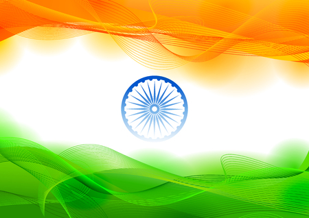 Illustration of tricolor banner with Indian flag for 26th January Happy Republic Day of India. Zdjęcie Seryjne - 92491445