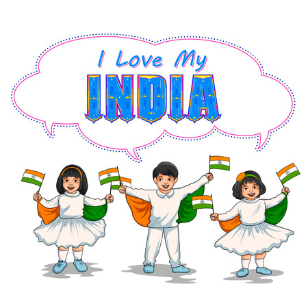 Indian kid holding flag of India with pride Illustration
