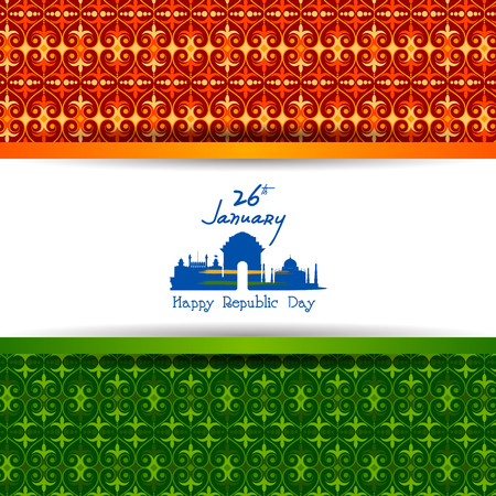 Easy to edit vector illustration of Happy Republic Day of India tricolor background for 26 January Illustration