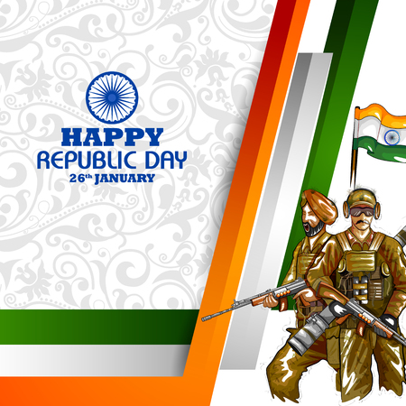 Soldier on Indian Independence Day celebration background