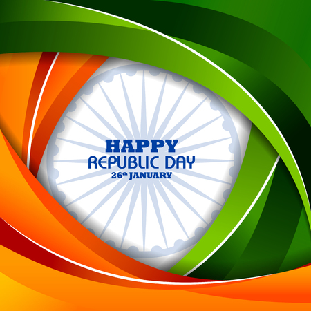 Happy Republic Day of India tricolor background for 26 January Illustration