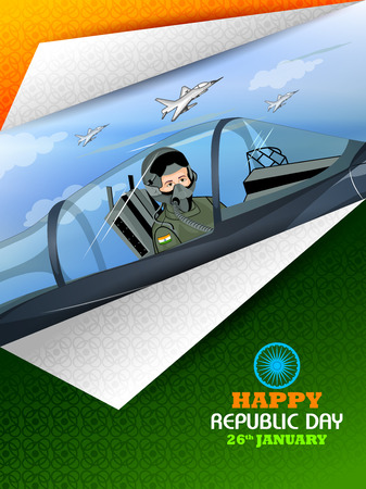Air force pilot in airplane on Indian Independence Day celebration background.