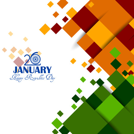Happy Republic Day of India tricolor background for 26 January.