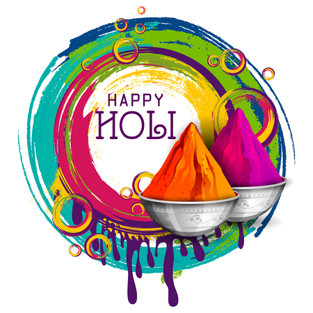 Colorful Happy Holi background for festival of colors in India.