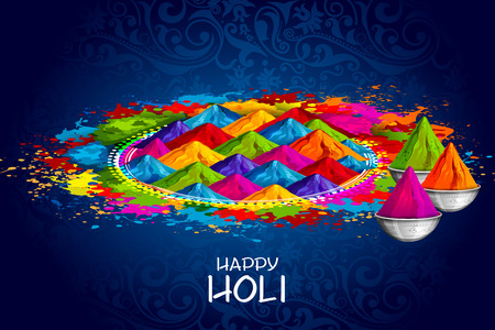 Easy to edit vector illustration of Colorful Happy Holi design for festival of colors in India Illustration