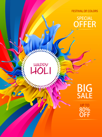 Easy to edit vector illustration of colorful Happy Hoil sale promotion. Shopping advertisement background for festival of colors in India. Vectores