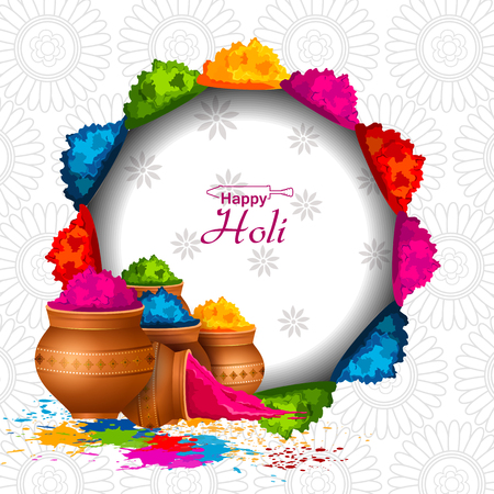 Easy to edit vector illustration of colorful Happy Hoil background for festival of colors in India.
