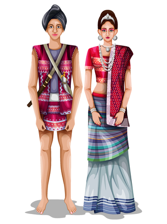 easy to edit vector illustration of Arunachali wedding couple in traditional costume of Arunachal Pradesh, India