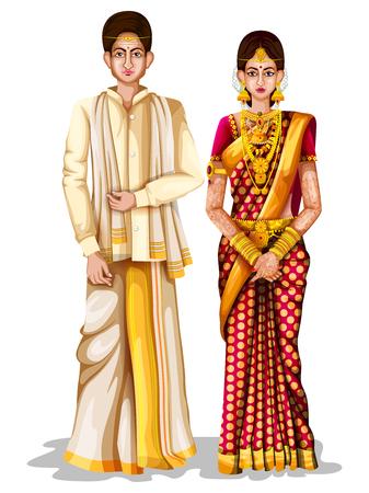 fácil de editar a ilustração vetorial de casal de casamento Andhrait em traje tradicional de Andhra Pradesh, Índia
