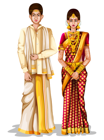 easy to edit vector illustration of Andhrait wedding couple in traditional costume of Andhra Pradesh, India
