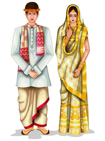 fácil de editar a ilustração vetorial de casal de casamento Assamese em traje tradicional de Assam, Índia
