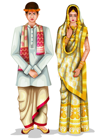 easy to edit vector illustration of Assamese wedding couple in traditional costume of Assam, India Vettoriali