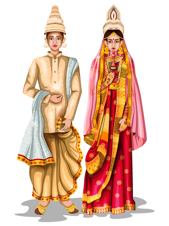 easy to edit vector illustration of Bengali wedding couple in traditional costume of West Bengal, India Vectores