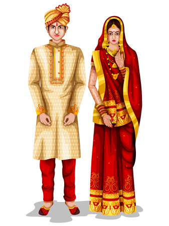 easy to edit vector illustration of Bihari wedding couple in traditional costume of Bihar, India