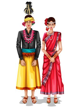 easy to edit vector illustration of Chhattisgarhi wedding couple in traditional costume of Chhattisgarh, India  イラスト・ベクター素材