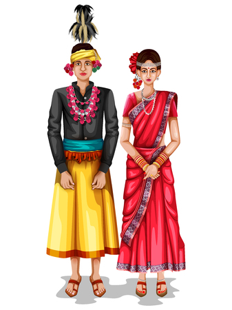 easy to edit vector illustration of Chhattisgarhi wedding couple in traditional costume of Chhattisgarh, India Vettoriali