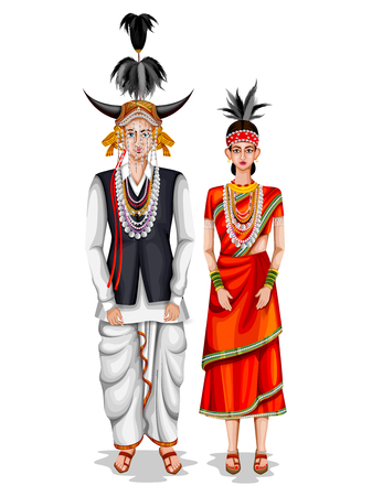easy to edit vector illustration of Chhattisgarhi wedding couple in traditional costume of Chhattisgarh, India Vectores