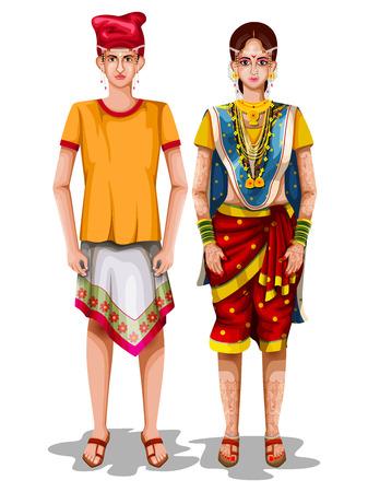 ゴア、インドの伝統的な衣装でゴアンの結婚式のカップルのベクトルイラストを編集するのは簡単