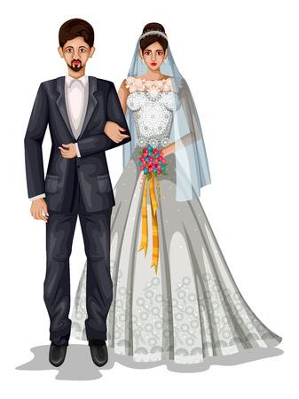 fácil de editar a ilustração vetorial de casal de casamento de Goa em traje tradicional de Goa, Índia Ilustración de vector