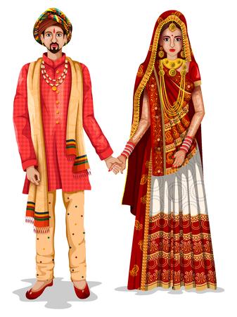 Facile à modifier l'illustration vectorielle du couple de mariage Gujarati en costume traditionnel du Gujarat, Inde Banque d'images - 94033050