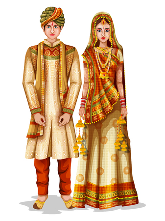 Easy to edit vector illustration of Haryanvi wedding couple in traditional costume of Haryana, India Stok Fotoğraf - 94040210