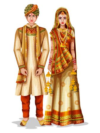Fácil de editar a ilustração vetorial de casal de noivos Haryanvi em traje tradicional de Haryana, Índia
