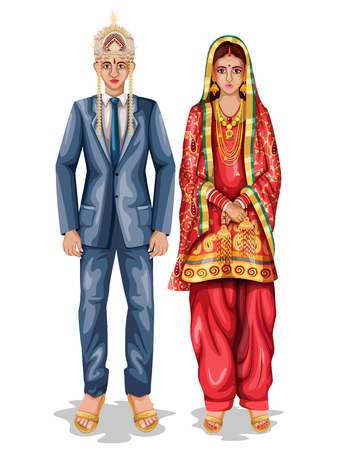 easy to edit vector illustration of Himachali wedding couple in traditional costume of Himachal Pradesh, India