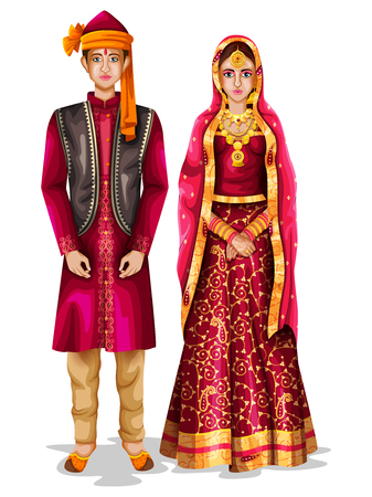 easy to edit vector illustration of Kashmiri wedding couple in traditional costume of Jammu and Kashmir, India
