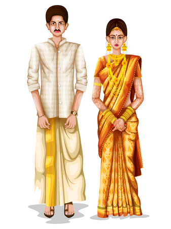 easy to edit vector illustration of Keralite wedding couple in traditional costume of Kerala, India