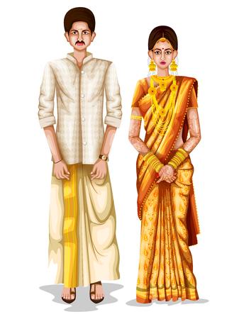 facile à modifier l'illustration vectorielle du couple de mariage Keralite en costume traditionnel du Kerala, Inde Vecteurs