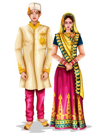 マディヤプラデシュ、インドの伝統的な衣装でマディヤプラデシの結婚式のカップルのベクトルイラストを編集するのは簡単です