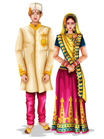 fácil de editar a ilustração vetorial de casal de noivos Madhya Pradeshi em traje tradicional de Madhya Pradesh, Índia Ilustración de vector