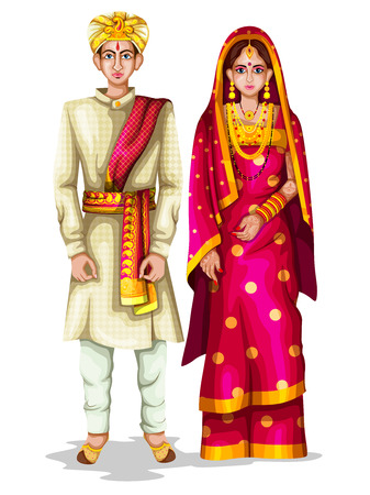 easy to edit vector illustration of Karnatakan wedding couple in traditional costume of Karnataka, India Vectores