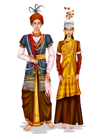easy to edit vector illustration of Meghalayan wedding couple in traditional costume of Meghalaya, India Vectores