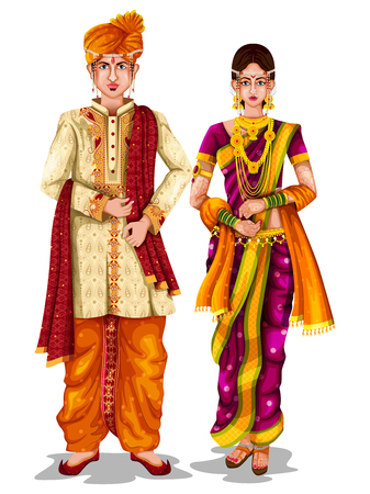 easy to edit vector illustration of Maharashtrian wedding couple in traditional costume of Maharashtra, India Vettoriali