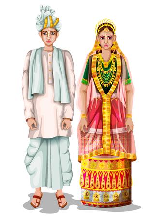 Casal de casamento Manipuri em traje tradicional de Manipur, Índia
