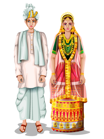 Manipuri wedding couple in traditional costume of Manipur, India Illustration