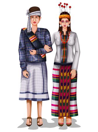 Mizo wedding couple in traditional costume of Mizoram, India Illustration