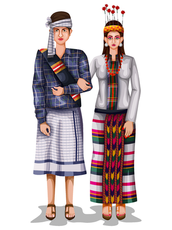 Mizo wedding couple in traditional costume of Mizoram, India Illustration
