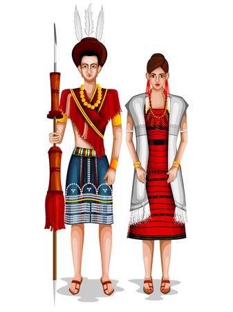 Naga wedding couple in traditional costume of Nagaland, India Stock Illustratie
