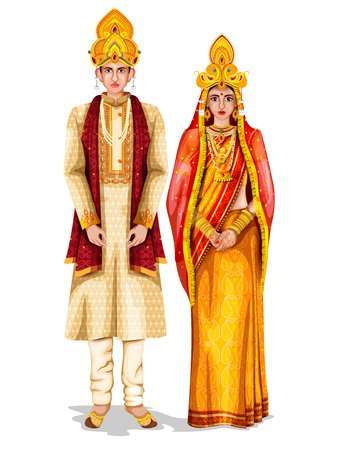 Casal de noivos Odia em traje tradicional de Odisha, Índia