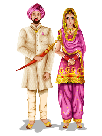Punjabi wedding couple in traditional costume of Punjab, India Illustration